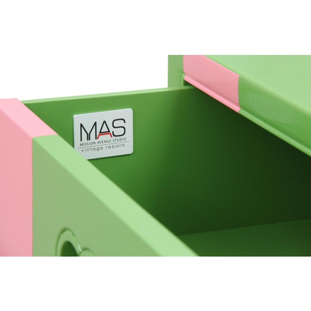 Midcentury Style Green and Pink Chest of Drawers - Image 5 of 7