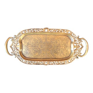 Mid 20th Century Vintage Engraved Brass Handled Footed Tray For Sale