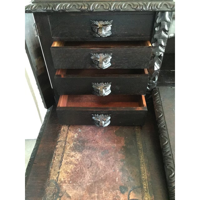 Gothic Revival Green Man Dickens Executive Desk For Sale In Richmond - Image 6 of 13