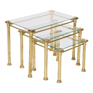 Set of Three French Mid-Century Modern Brass and Glass Nesting Tables by Maison For Sale