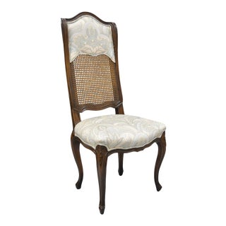 Vintage French County Cane High Back Walnut Side Chair