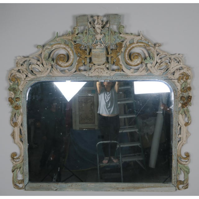 19th Century English Carved Wood Painted Mirror - Image 2 of 9