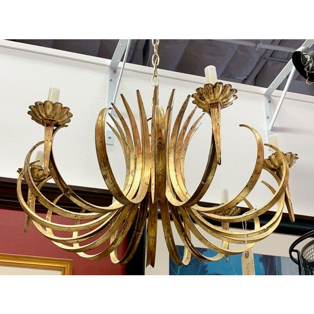 Vintage Grass Blade Gold Mid Century Italian Gilt Chandelier For Sale - Image 9 of 11