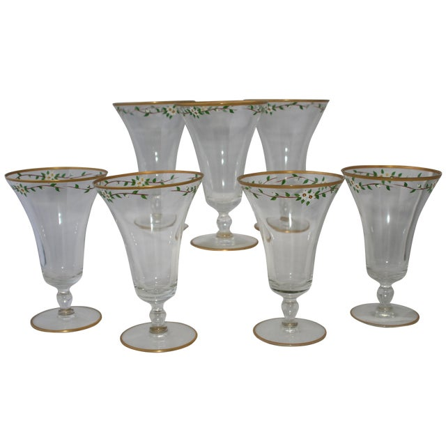 Vintage Hand Painted Footed Water Glasses - S/7 - Image 1 of 4