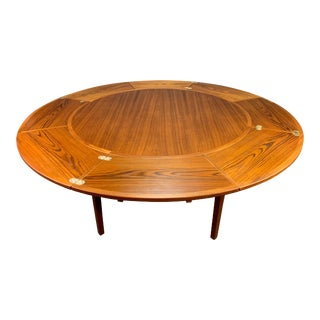 "Vintage Danish Mid Century Modern Teak ""Lotus"" Dining Table by Dyrlund For Sale"
