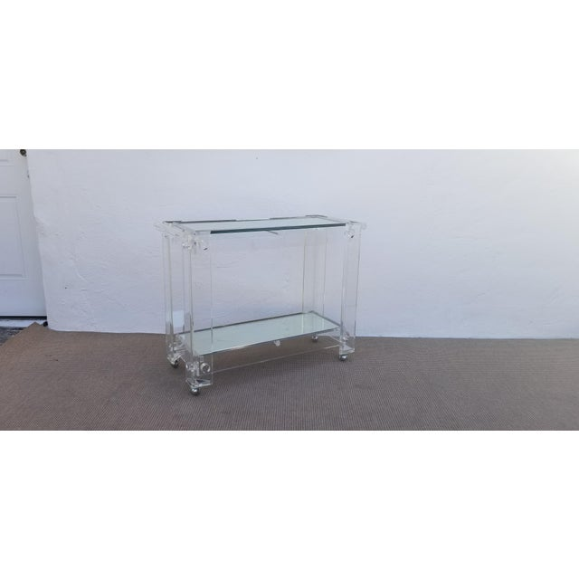 1970s 1970s Lucite Mirrored Glass Bar Cart For Sale - Image 5 of 13