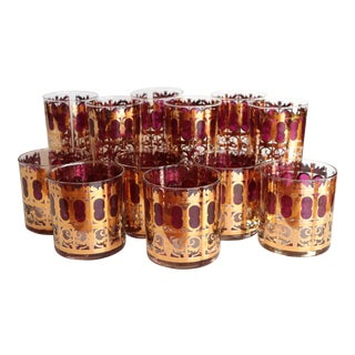 Culver Cranberry Scroll Highball and Lowball Glasses - Set of 12