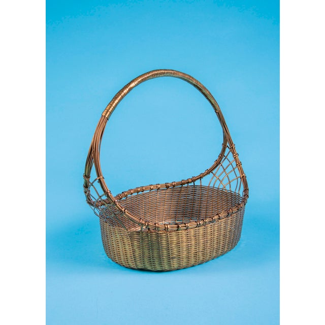 Mid-Century Modern 1960's Mid-Century Hand Woven Solid Brass Basket For Sale - Image 3 of 9