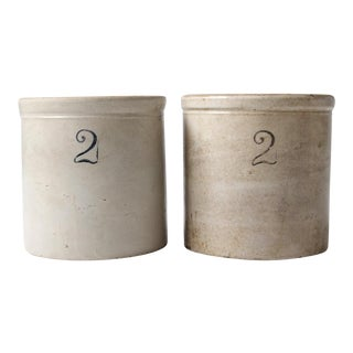Antique Macomb Stoneware Two Gallon Crocks - A Pair