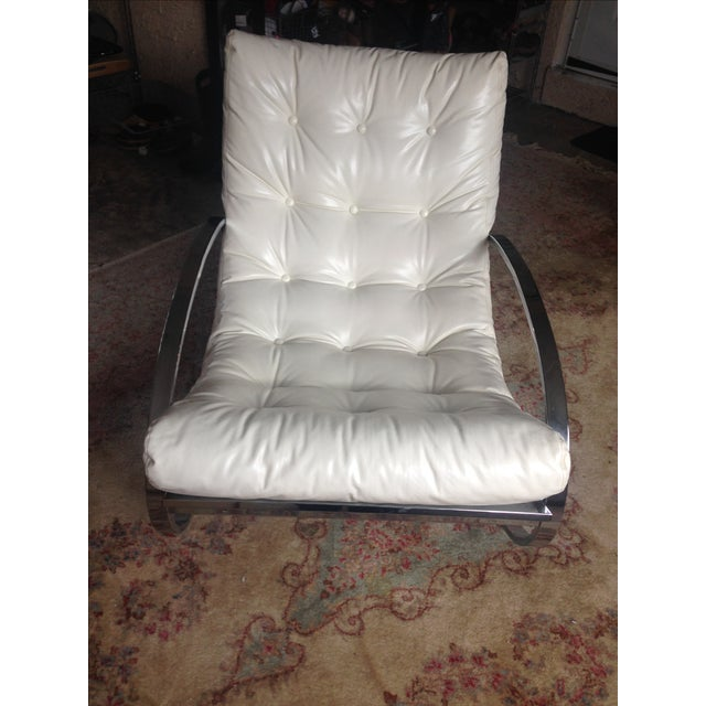 Selig Selig Chrome Leatherette Ellipse Rocking Chair For Sale - Image 4 of 7
