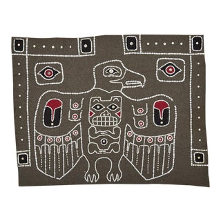 Nw Coastal Native Button Blanket W/ Raven and Bear Circa 1950s