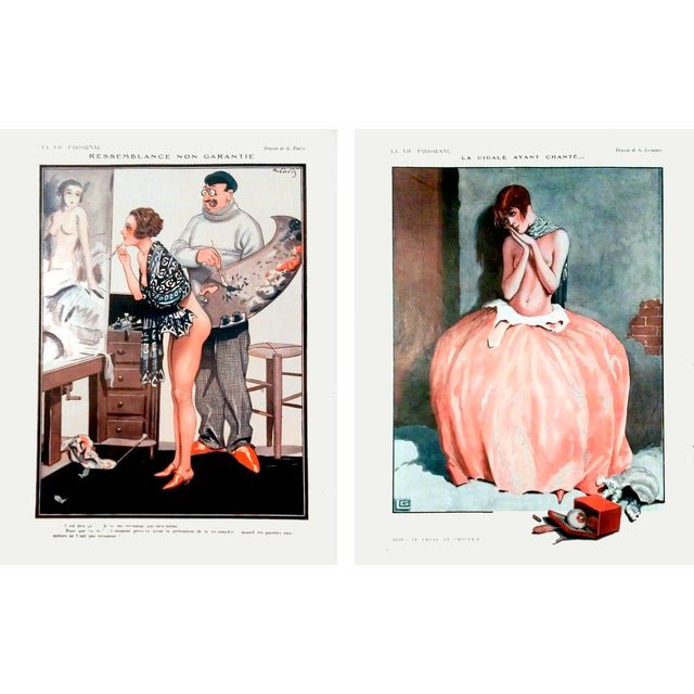 "1926 La Vie Parisienne ""Posing Pretty"" Prints - Pair - Image 1 of 10"
