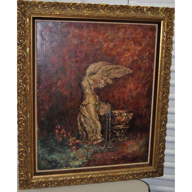 "Canvas Marie Weger ""Symbole of Culture"" Still Life Oil Painting C.1950s For Sale - Image 7 of 7"