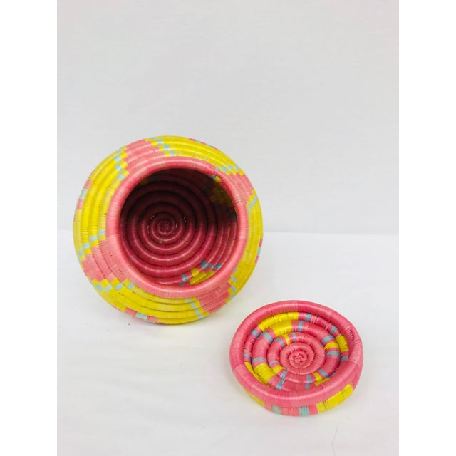 Pink/Yellow & Blue/Pink African Artisan Baskets - A Pair - Image 9 of 11