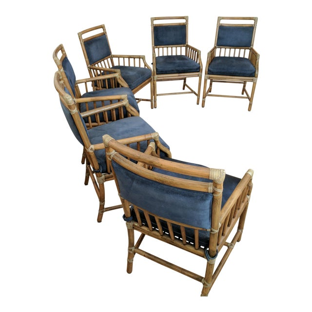 McGuire Rattan Accent Dining Chairs - Set of 6 - Image 1 of 5