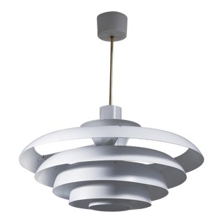 One of Two White Metal Pendant Lamps, Sweden For Sale