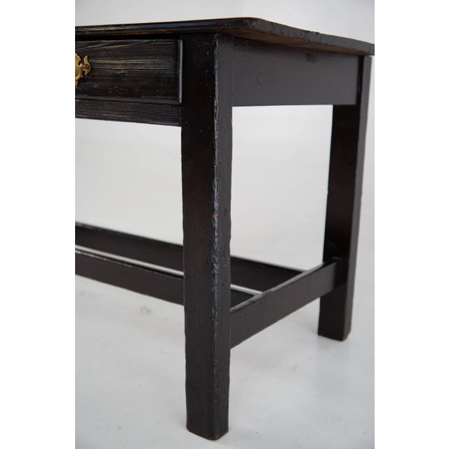 Vintage Black Lacquered Wooden Desk With Brass Hardware For Sale In Los Angeles - Image 6 of 8