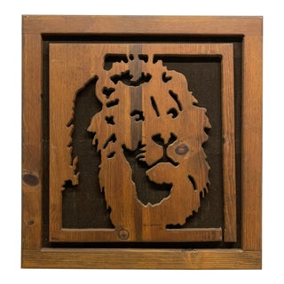 Vintage Wood Hippie Art Sculpted Lion, Signed and Dated 1982 For Sale