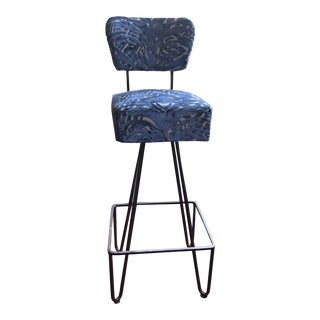 Set of 4 Vintage Wrought Iron Blue Cut Velvet Swivel Chairs
