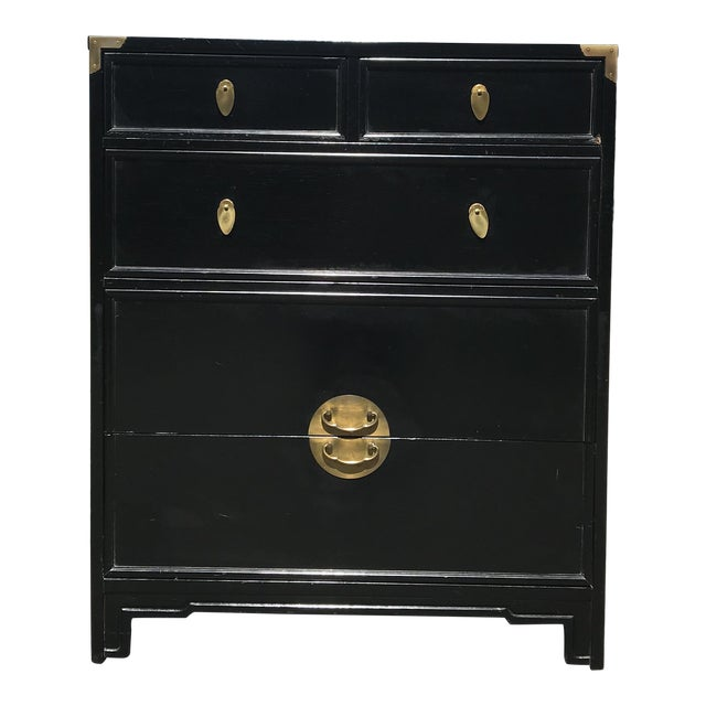"""Ebonized and Brass """"the Lotus"""" Highboy Dresser by Kent Coffey For Sale"""