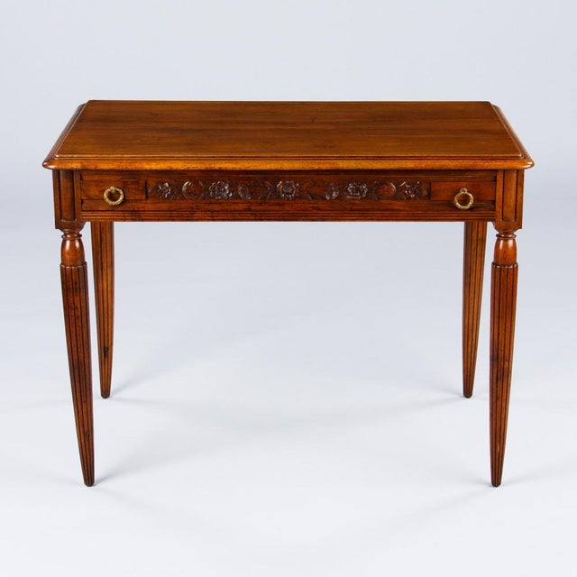 French Louis XVI Style Walnut Desk, Early 1900s For Sale - Image 4 of 11