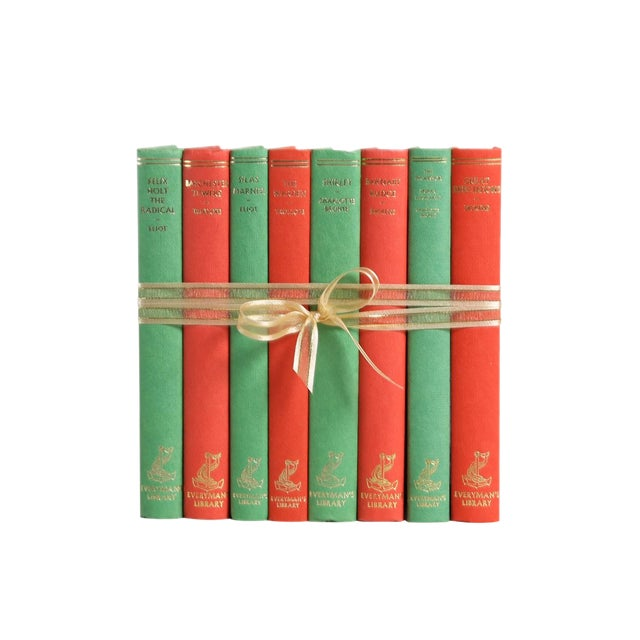 Vintage Decorative Book Gift Set: Red & Green For Sale