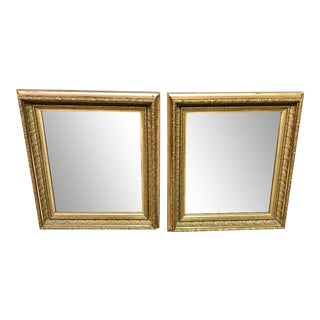 Antique 19th Century Gold Gilt Wood Mirrors - a Pair For Sale