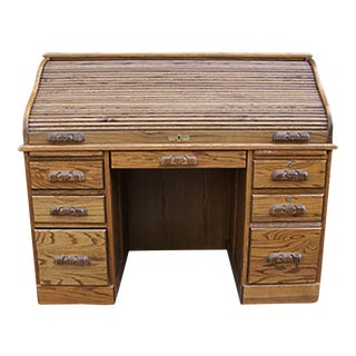 Late 20th Century Oak Roll Top Desk For Sale