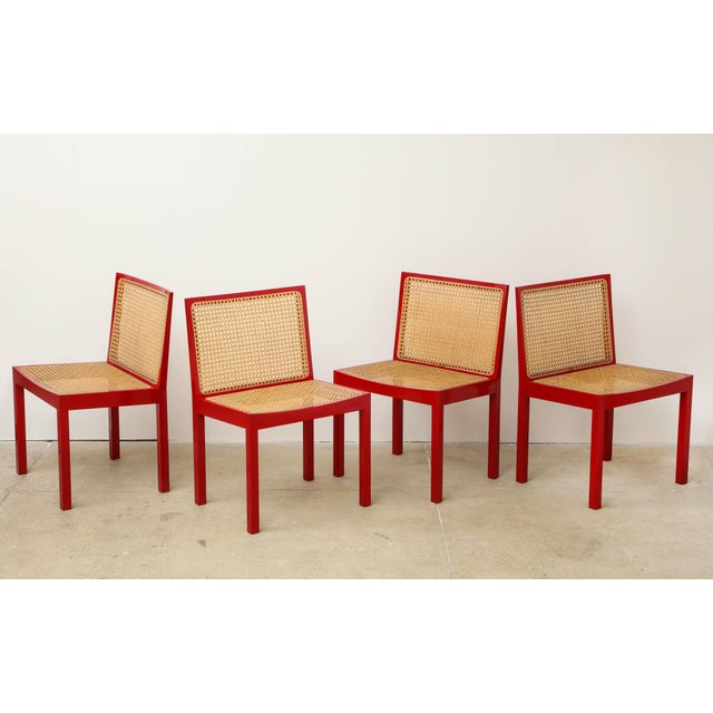 "Set of Four Red Lacquered ""Bankshuhl"" Chairs by Willy Guhl for Stendig For Sale - Image 13 of 13"