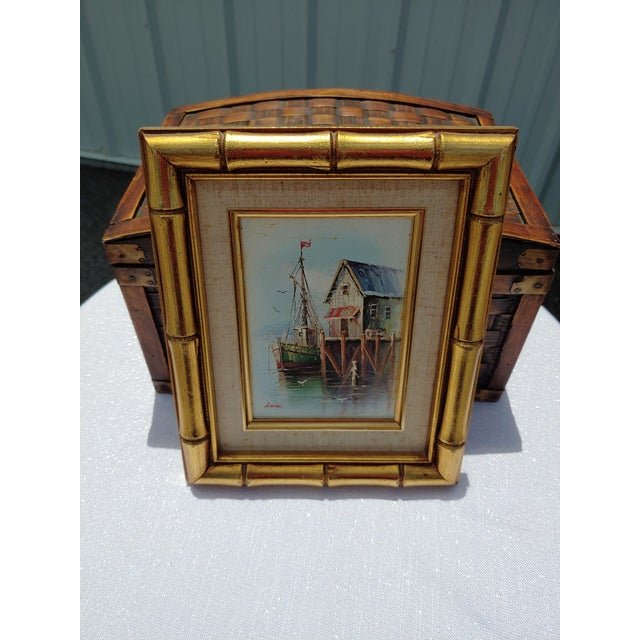 French Framed Oil Painting on Canvas of a Harbor Scene For Sale - Image 9 of 9