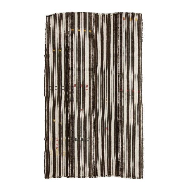 Textile 1960s Vintage Brown & White Striped Kilim Rug- 5′8″ × 9′6″ For Sale - Image 7 of 7