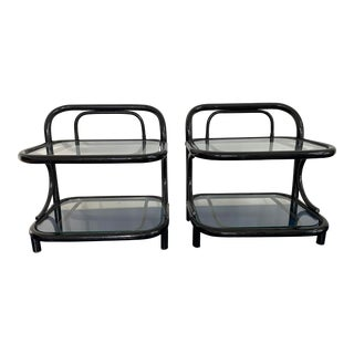 Italian Black Lacquered Rattan End Tables - a Pair For Sale