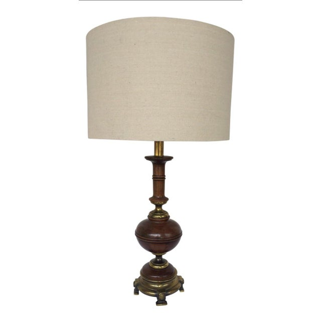 Gold Mid-Century Wood & Brass Finish Style Lamp With Shade For Sale - Image 8 of 9