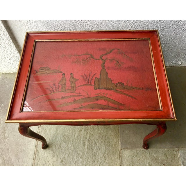 Metal 1950s Chinoiserie Red Hand Painted Coffee Table For Sale - Image 7 of 13