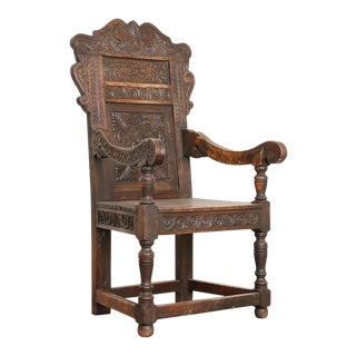 Late 19th Century Antique Hand Carved Oak Arm Chair For Sale
