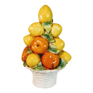 Vintage Italian Majolica Orange Tree Topiary For Sale