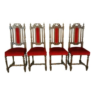 Renaissance Style Oak & Red Upholstered Chairs - Set of 4