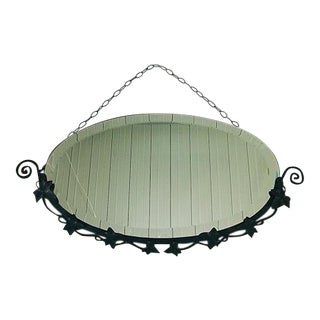 Vintage Art Deco Era French Wrought Iron Oval Mirror For Sale