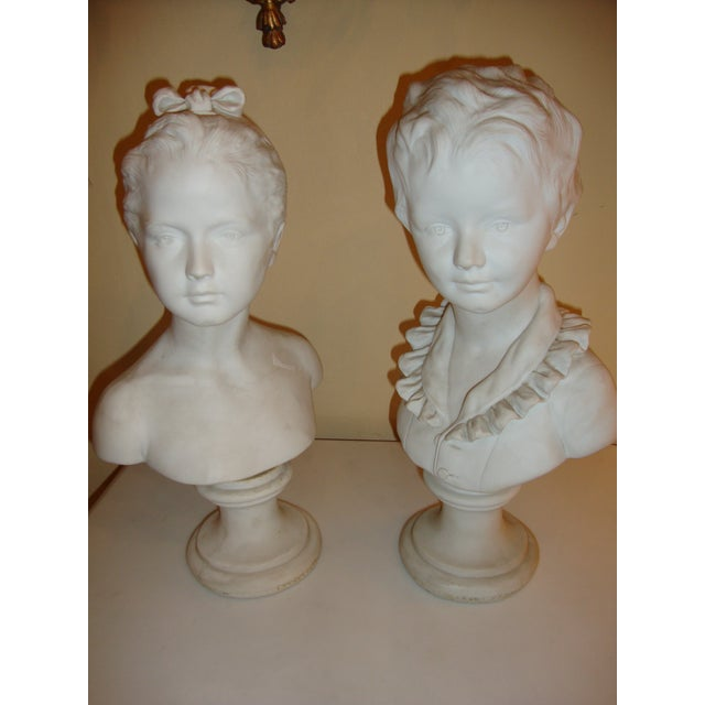 Brother and Sister Parian Busts- A Pair - Image 3 of 8