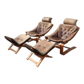 1970s Vintage Scanform Cantilevered Leather Lounge Chair & Ottoman- a Pair For Sale