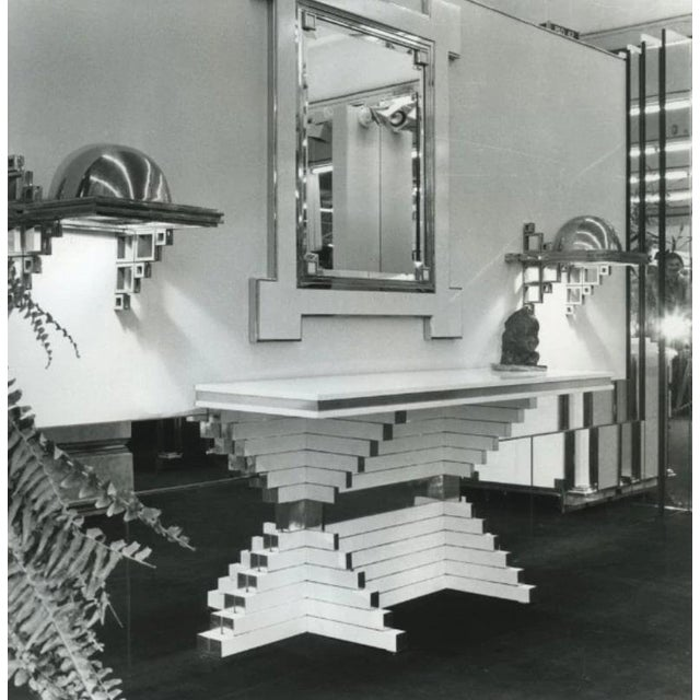 1975 Alain Delon for Maison Jansen Lacquer and Brass Wall Mirror For Sale - Image 10 of 13