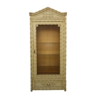 1970s Hollywood Regency Chinoiserie Beige & Gold French Linen Press Cabinet Oriental Asian Influence For Sale