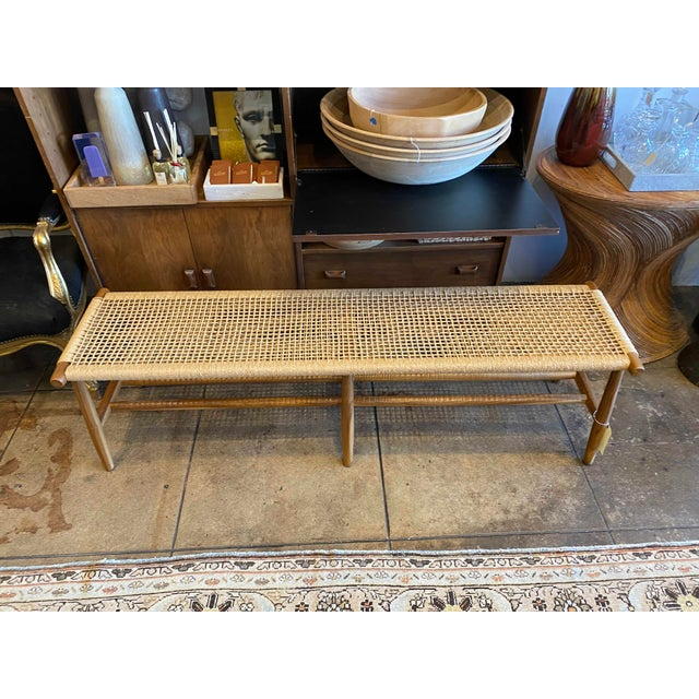 Woven Cord and Teak Bench For Sale - Image 10 of 10