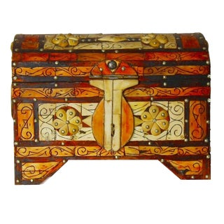Moroccan Amber Wood Bone Inlay Hand Carved Jewelry Box For Sale