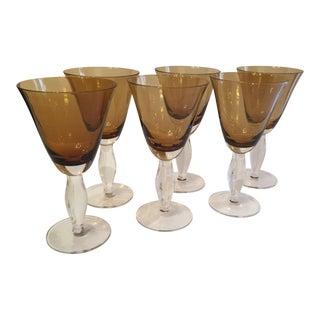 Amber Glass Goblets - Set of 6