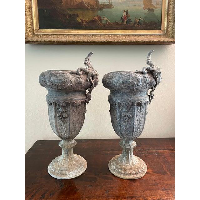 Silver French 19th Century Zinc Renaissance Revival Rococo Garden Vase Planters - A Pair For Sale - Image 8 of 13