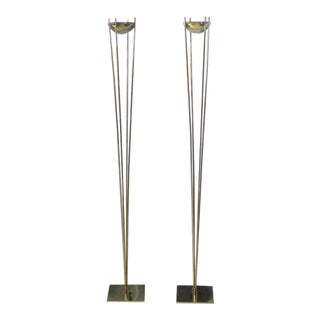 Brass Mid-Century Modern Halogen Floor Lamps - a Pair For Sale