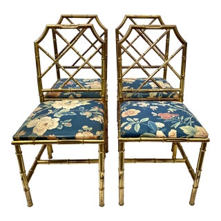 Italian Faux Bamboo Brass Chairs Set of 4 For Sale