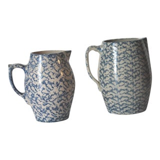 Two 19th Century Rare Form Sponge Ware Pottery Pitchers For Sale