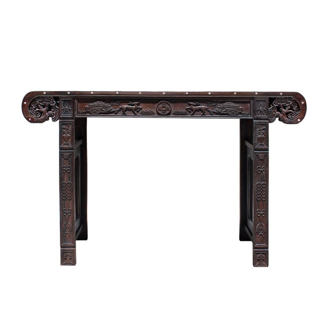 Arts & Crafts Chinese Brown Huali Rosewood Scroll Inlay Deer Fortune Motif Altar Table For Sale - Image 3 of 9